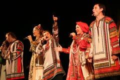 La représentation sur l'étape du chanteur folk national du babkina de nadezhda de chansons et de la chanson russes de Russe de th Photos libres de droits