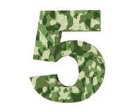 la representación 3D camufla el número 5 cinco 3d rinden la ilustración stock de ilustración