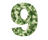 la representación 3D camufla el número 9 nueve 3d rinden la ilustración stock de ilustración