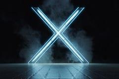 la representaci?n 3d de bastidor aligera forma del alfabeto X en el piso de tejas del grunge rodeado por el humo stock de ilustración