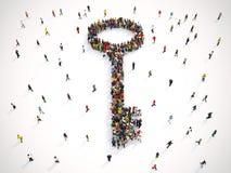 la representación 3D de la gente forma una llave libre illustration