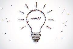 la representación 3D de la gente forma una luz de bulbo libre illustration
