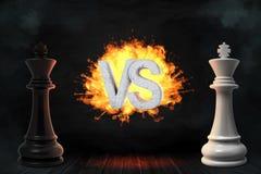 la representación 3d de los reyes blancos y negros grandes del ajedrez se coloca con flamear CONTRA letras entre ellas libre illustration