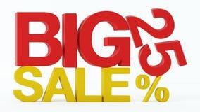 la representación 3D de un 25 por ciento y la venta grande mandan un SMS libre illustration