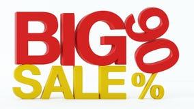 la representación 3D de un 90 por ciento y la venta grande mandan un SMS stock de ilustración