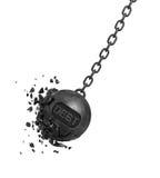 la representación 3d de una bola arruinadora grande con una DEUDA de la escritura balancea en una cadena mientras que sus pedazos Imagen de archivo