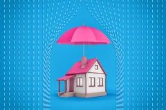 la representación 3d de una pequeña casa de la familia se coloca debajo de un paraguas rosado abierto grande que proteja la casa  imagen de archivo libre de regalías