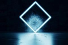la representación 3d del azul aligera el cuadrado delante de la parte posterior de la pared del grunge stock de ilustración
