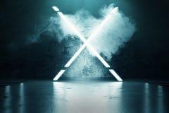 la representación 3d del azul aligera forma del alfabeto de X delante del grunge ilustración del vector