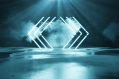 la representación 3d del azul aligera líneas geométricas de la forma delante del fondo de la pared del grunge y del haz luminoso ilustración del vector