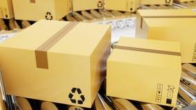 la representación 3D empaqueta la entrega, servicio de empaquetado y empaqueta el concepto de sistema de transporte, cajas de car libre illustration