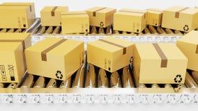 la representación 3D empaqueta la entrega, servicio de empaquetado y empaqueta el concepto de sistema de transporte, cajas de car stock de ilustración