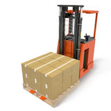 La representación del cargador automotor con las cajas en la plataforma bajo blanco ilustración 3D stock de ilustración