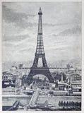 La reprografia dettagliata di un'annata ha inciso l'illustrazione dalla torre Eiffel Fotografia Stock