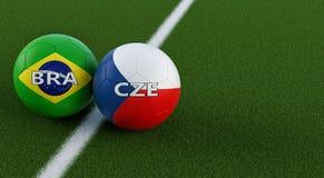 La repubblica Ceca contro Partita di calcio del Brasile - palloni da calcio nei colori nazionali del Brasile e della repubblica C Illustrazione di Stock