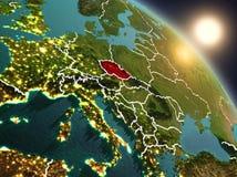 La repubblica Ceca da spazio durante l'alba Fotografia Stock Libera da Diritti