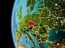 La repubblica Ceca da spazio nella sera Fotografia Stock
