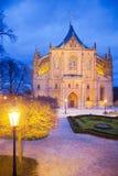La repubblica Ceca, Kutna Hora: 12 dicembre 2017: cattedrale gotica della st Barbora, punto di riferimento culturale nazionale, K Fotografia Stock Libera da Diritti