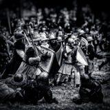 La repubblica Ceca medievale di battaglia (ricostruzione), Libusin, 25 04 Fotografie Stock