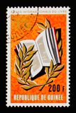 La Repubblica di Guinea mostra i grafici dell'anno internazionale del libro, circa 1972 Fotografia Stock