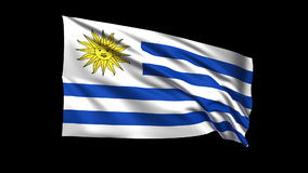 La Repubblica orientale di ciclaggio senza cuciture di bandiera dell'Uruguay che ondeggia in vento di t Republiche, alfa canale è video d archivio