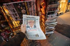 La republica Magazine about Donald Trump new USA president Stock Photography
