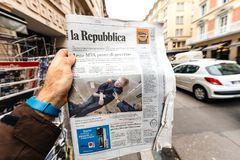 La republica Newspaper about Stephen Hawking Death on the first. PARIS, FRANCE - MAR 15, 2018: Italian La Republica newspaper with portrait of Stephen Hawking royalty free stock photo