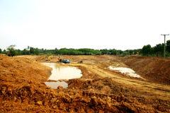 La reserva de agua de la irrigación bajo construcción Foto de archivo
