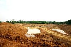 La reserva de agua de la irrigación bajo construcción Fotografía de archivo