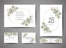 La reserva de lujo de la boda la fecha, invitación carda la colección con las hojas y la guirnalda de la hoja de oro cubierta de  ilustración del vector