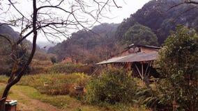 La residencia del 'salvaje 'en el bosque de la montaña imagenes de archivo