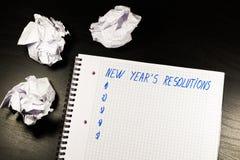 La resolución del Año Nuevo en el cuaderno Imagen de archivo