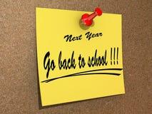 La resolución vuelve el próximo año a la escuela. Fotografía de archivo libre de regalías