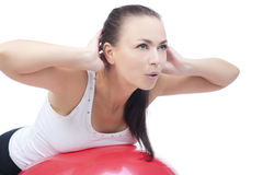 La respirazione profonda e abomen l'addestramento di esercitazione Fotografia Stock