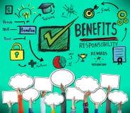 La responsabilité d'avantages récompense le concept de satisfaction de compétence de but illustration stock