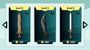 La ressource de concepteur du jeu d'interface inclut les armes de jeu et l'icône de ressource pour le mobile et le jeu sur Intern illustration de vecteur