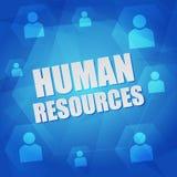 La ressource humaine et la personne signe dedans des hexagones Photos stock