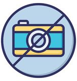 La restriction de caméra ou n'emploient pas l'icône de vecteur d'isolement par caméra qui peut être facilement modifiée ou éditée illustration de vecteur