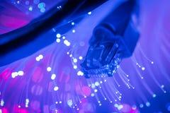 La rete cabla il primo piano con la fibra ottica Fotografia Stock