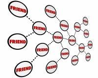 La rete dei pari dei colleghi degli amici collega la parola illustrazione di stock