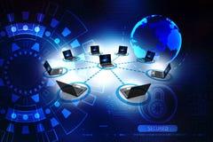 La rete di computer, computer si è collegata al server rappresentazione 3d immagine stock