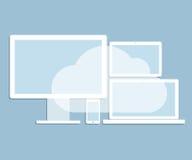 La rete informatica della nuvola ha collegato tutti i dispositivi Immagine Stock Libera da Diritti
