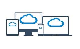 La rete informatica della nuvola ha collegato tutti i dispositivi Fotografia Stock
