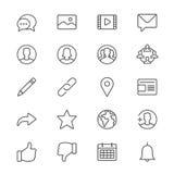 La rete sociale assottiglia le icone Immagini Stock Libere da Diritti