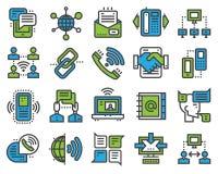 La rete sottile sotial di web di Internet di media delle icone del profilo di comunicazione comunica l'illustrazione di vettore Immagine Stock Libera da Diritti