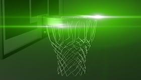 La rete verde di un cerchio di pallacanestro su vari materiale e fondo, 3d rende Fotografia Stock