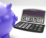La retraite sur la calculatrice montre la décision retirée par retraité Photos stock