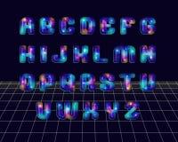 La retro discoteca ha disegnato l'alfabeto Fotografia Stock Libera da Diritti