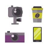 La retro macchina fotografica della foto ed icona del telefono vector l'illustrazione Fotografia Stock