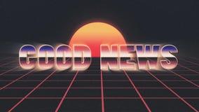 La retro mosca brillante del testo di buone notizie del lazer di stile 80s dentro e fuori sul sole di griglia stars il fondo di a royalty illustrazione gratis